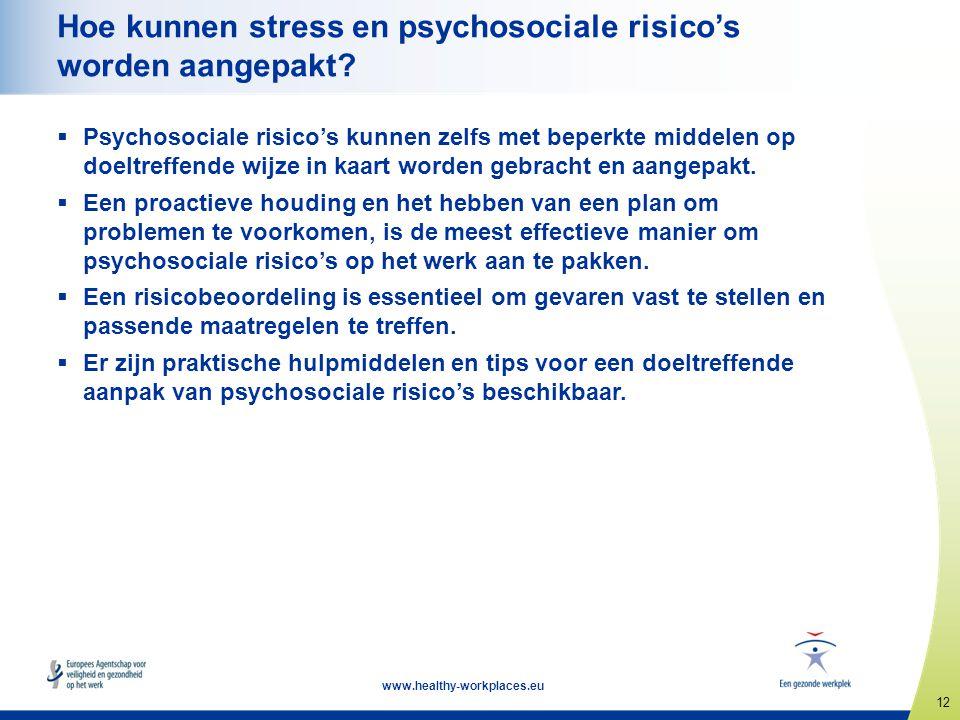12 www.healthy-workplaces.eu Hoe kunnen stress en psychosociale risico's worden aangepakt?  Psychosociale risico's kunnen zelfs met beperkte middelen