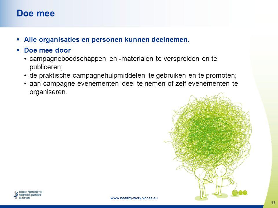 13 www.healthy-workplaces.eu Doe mee  Alle organisaties en personen kunnen deelnemen.  Doe mee door •campagneboodschappen en -materialen te versprei