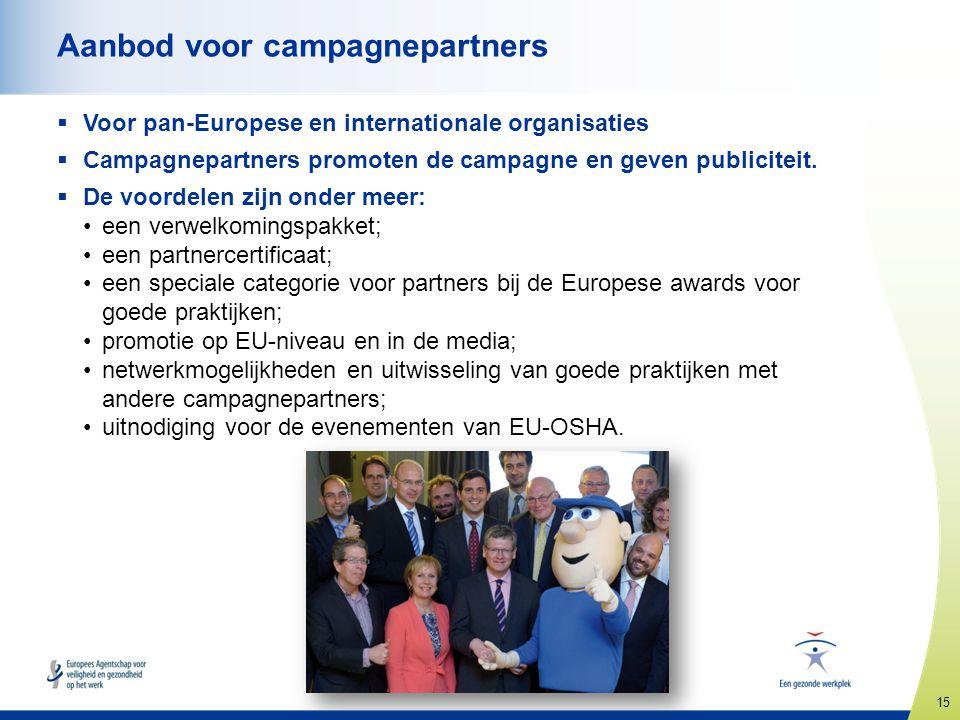 15 www.healthy-workplaces.eu Aanbod voor campagnepartners  Voor pan-Europese en internationale organisaties  Campagnepartners promoten de campagne e