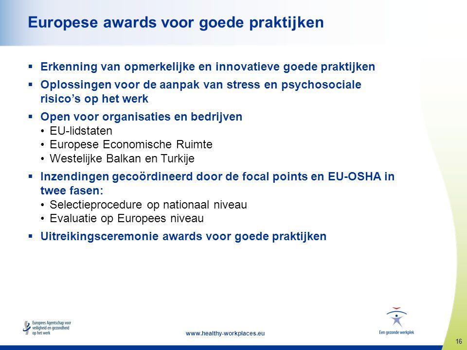 16 www.healthy-workplaces.eu Europese awards voor goede praktijken  Erkenning van opmerkelijke en innovatieve goede praktijken  Oplossingen voor de