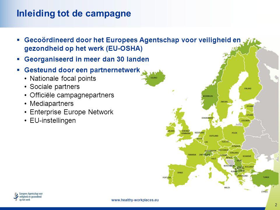2 www.healthy-workplaces.eu Inleiding tot de campagne  Gecoördineerd door het Europees Agentschap voor veiligheid en gezondheid op het werk (EU-OSHA)