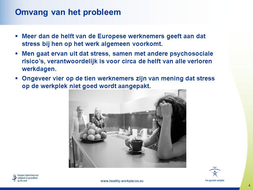 4 www.healthy-workplaces.eu Omvang van het probleem  Meer dan de helft van de Europese werknemers geeft aan dat stress bij hen op het werk algemeen v