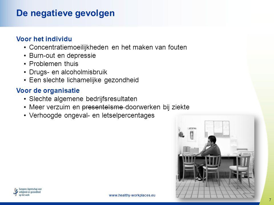7 www.healthy-workplaces.eu De negatieve gevolgen Voor het individu •Concentratiemoeilijkheden en het maken van fouten •Burn-out en depressie •Problem