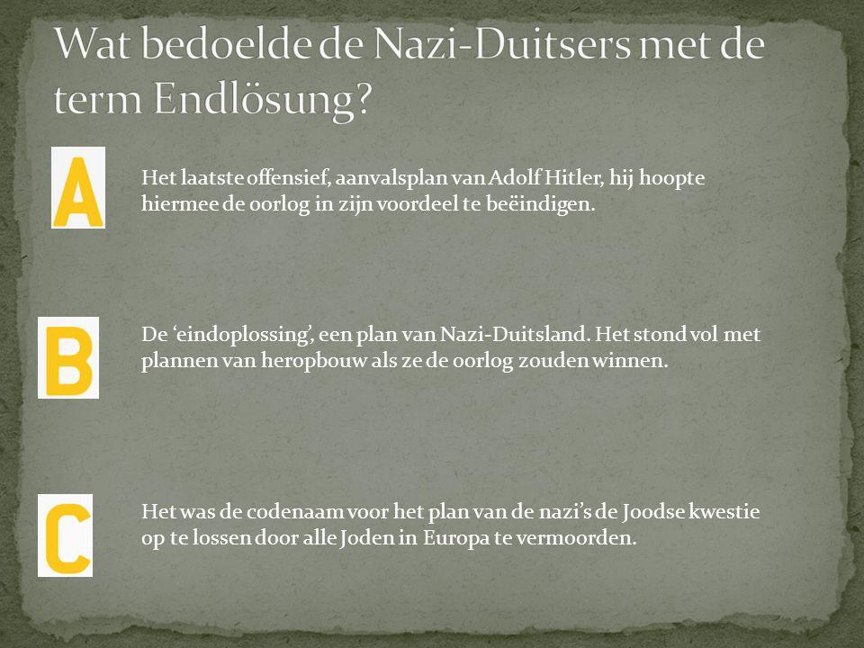 Het was de codenaam voor het plan van de nazi's de Joodse kwestie op te lossen door alle Joden in Europa te vermoorden. De 'eindoplossing', een plan v