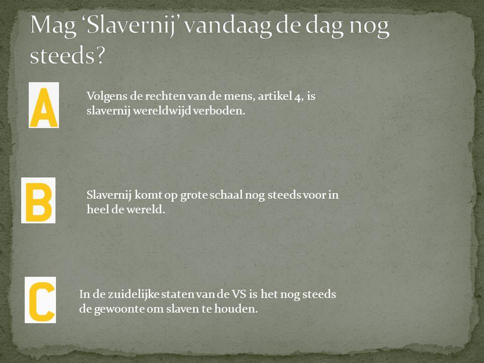 Volgens de rechten van de mens, artikel 4, is slavernij wereldwijd verboden. Slavernij komt op grote schaal nog steeds voor in heel de wereld. In de z