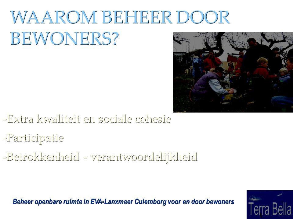 Beheer openbare ruimte in EVA-Lanxmeer Culemborg voor en door bewoners WAAROM BEHEER DOOR BEWONERS.