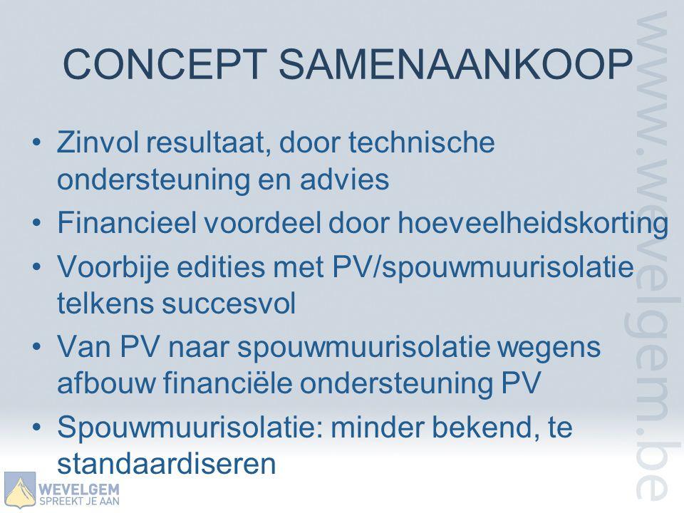 CONCEPT SAMENAANKOOP •Zinvol resultaat, door technische ondersteuning en advies •Financieel voordeel door hoeveelheidskorting •Voorbije edities met PV