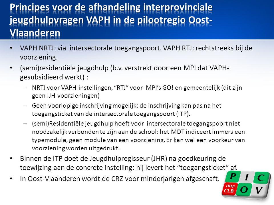 • VAPH NRTJ: via intersectorale toegangspoort. VAPH RTJ: rechtstreeks bij de voorziening.