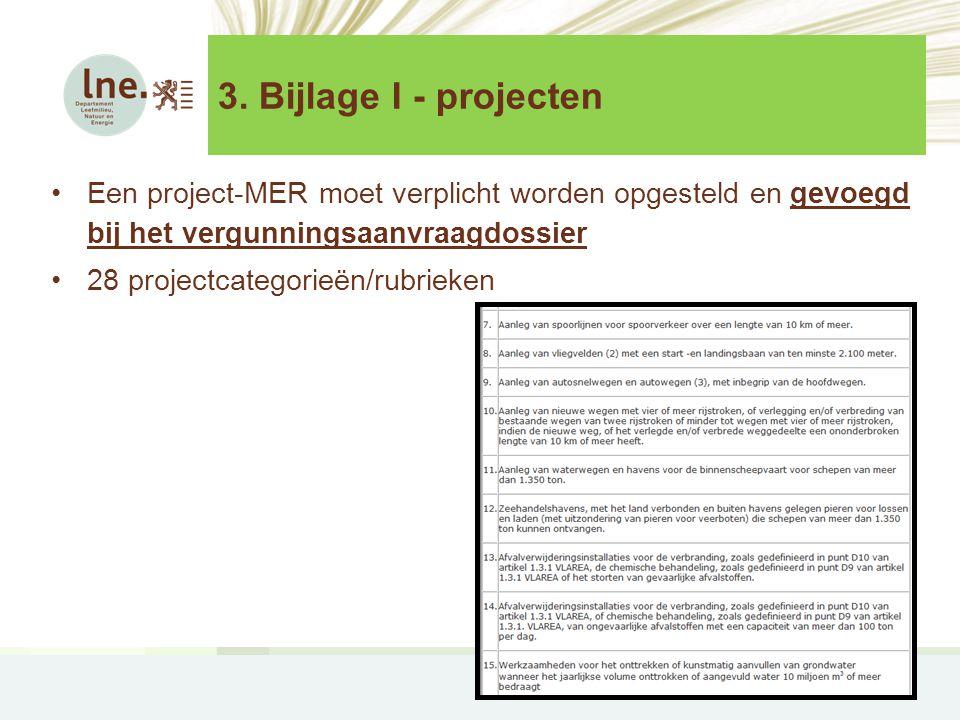3. Bijlage I - projecten •Een project-MER moet verplicht worden opgesteld en gevoegd bij het vergunningsaanvraagdossier •28 projectcategorieën/rubriek
