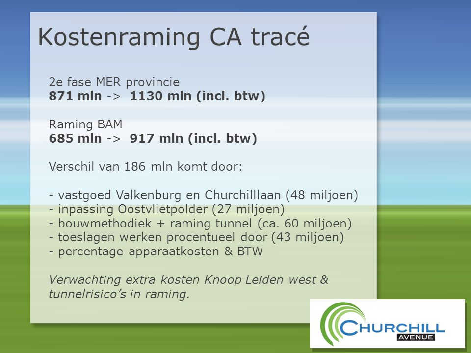 Kostenraming CA tracé 2e fase MER provincie 871 mln -> 1130 mln (incl. btw) Raming BAM 685 mln -> 917 mln (incl. btw) Verschil van 186 mln komt door: