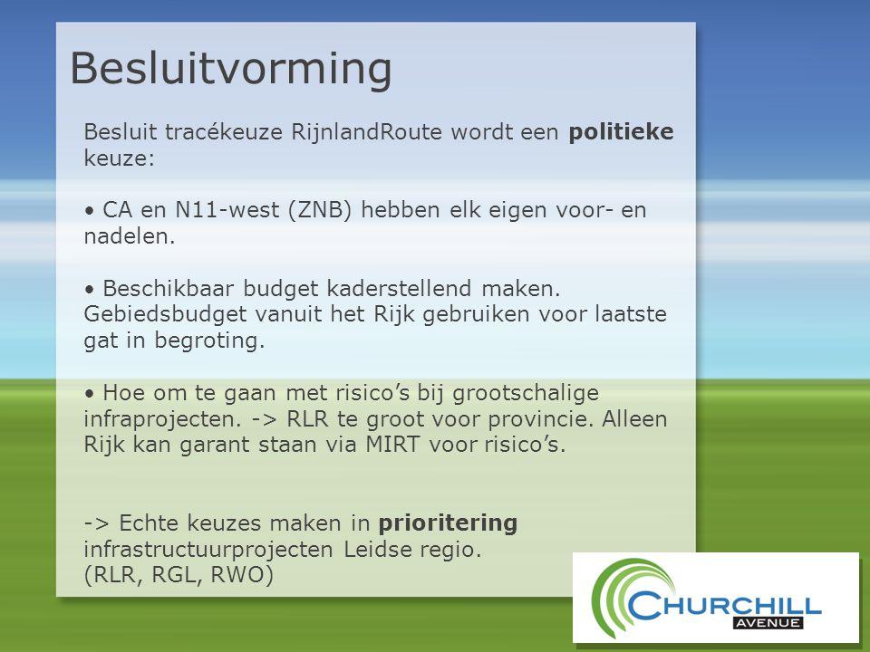 Besluitvorming Besluit tracékeuze RijnlandRoute wordt een politieke keuze: • CA en N11-west (ZNB) hebben elk eigen voor- en nadelen. • Beschikbaar bud