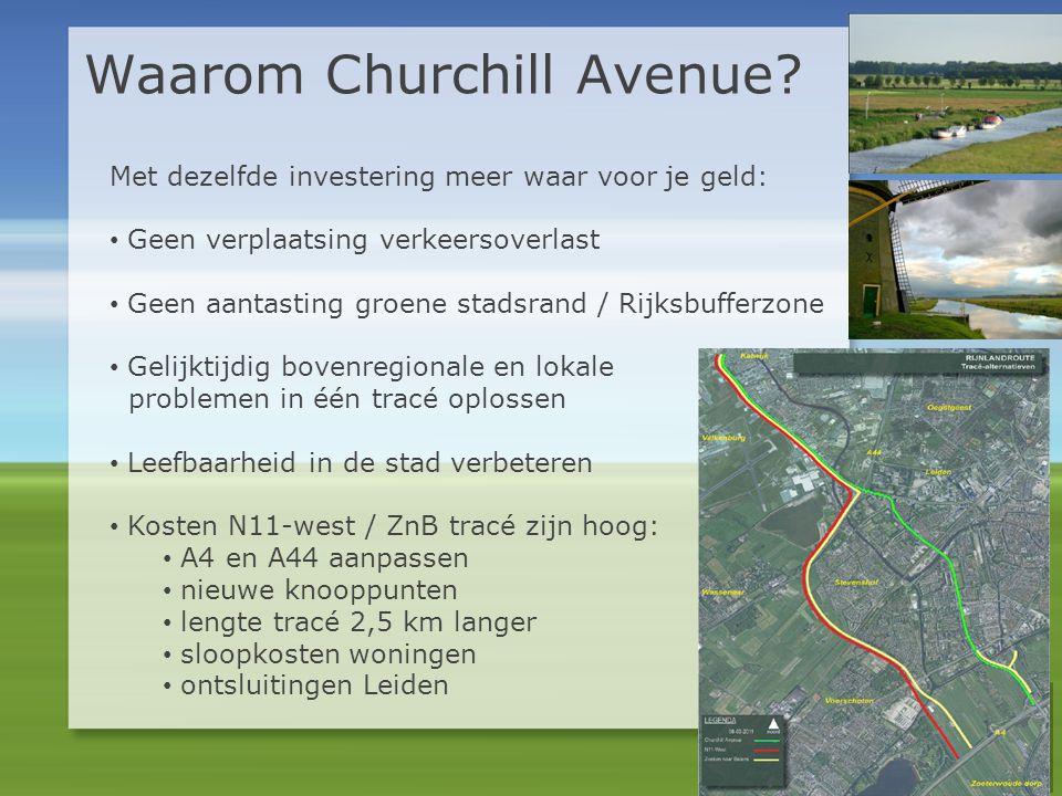 Waarom Churchill Avenue? Met dezelfde investering meer waar voor je geld: • Geen verplaatsing verkeersoverlast • Geen aantasting groene stadsrand / Ri