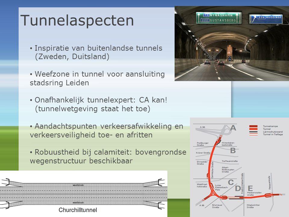 Tunnelaspecten • Inspiratie van buitenlandse tunnels (Zweden, Duitsland) • Weefzone in tunnel voor aansluiting stadsring Leiden • Onafhankelijk tunnel