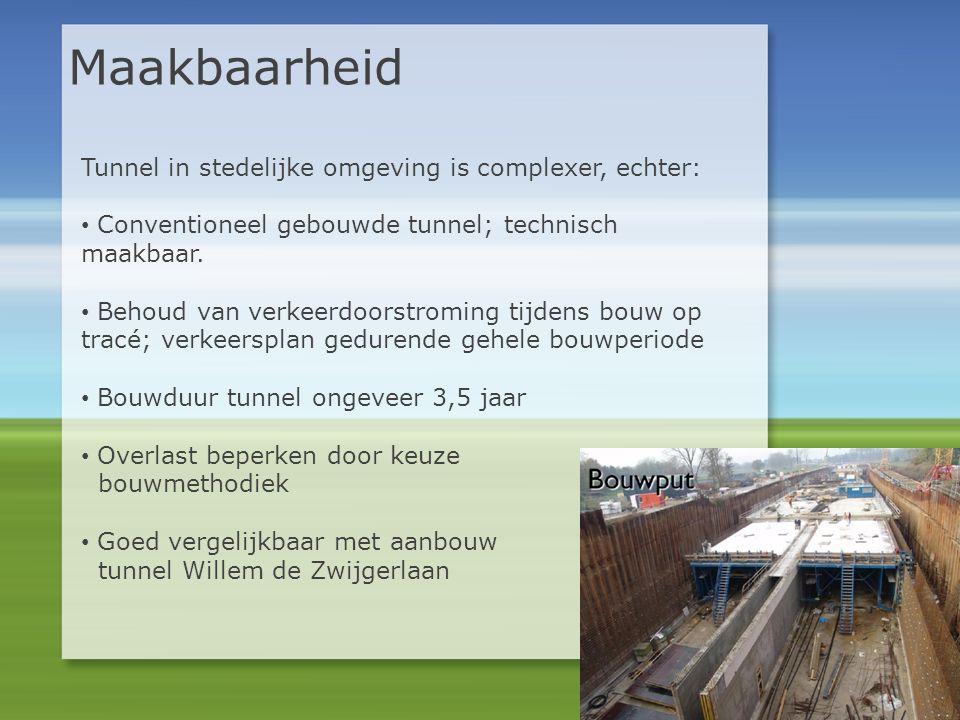 Maakbaarheid Tunnel in stedelijke omgeving is complexer, echter: • Conventioneel gebouwde tunnel; technisch maakbaar. • Behoud van verkeerdoorstroming