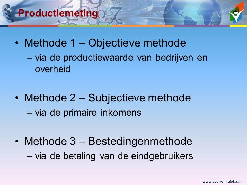 www.economielokaal.nl Productiemeting •Methode 1 – Objectieve methode –via de productiewaarde van bedrijven en overheid •Methode 2 – Subjectieve methode –via de primaire inkomens •Methode 3 – Bestedingenmethode –via de betaling van de eindgebruikers