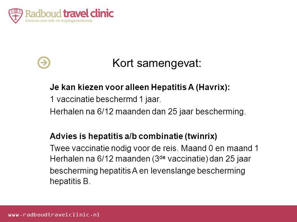 www.radboudtravelclinic.nl Kort samengevat: Je kan kiezen voor alleen Hepatitis A (Havrix): 1 vaccinatie beschermd 1 jaar. Herhalen na 6/12 maanden da