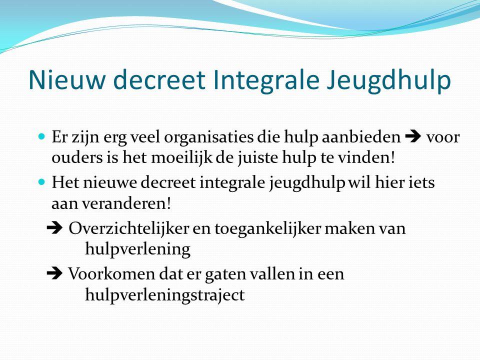 Nieuw decreet Integrale Jeugdhulp  Er zijn erg veel organisaties die hulp aanbieden  voor ouders is het moeilijk de juiste hulp te vinden!  Het nie