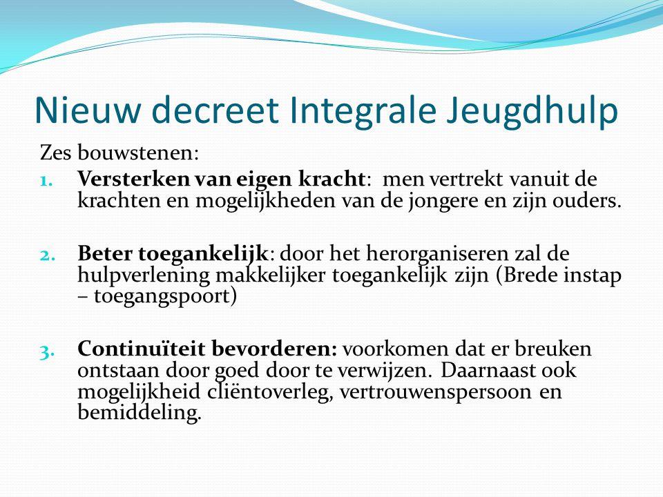 Nieuw decreet Integrale Jeugdhulp Zes bouwstenen: 1. Versterken van eigen kracht: men vertrekt vanuit de krachten en mogelijkheden van de jongere en z