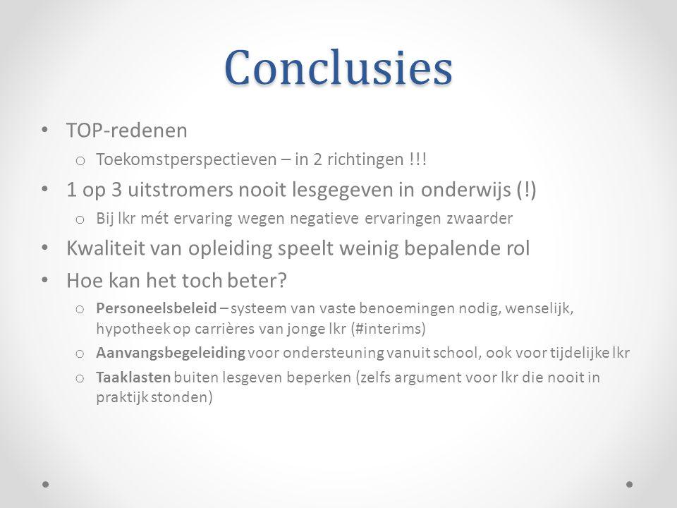 Conclusies • TOP-redenen o Toekomstperspectieven – in 2 richtingen !!.