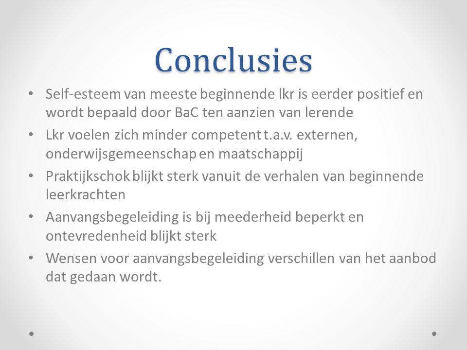 Conclusies • Self-esteem van meeste beginnende lkr is eerder positief en wordt bepaald door BaC ten aanzien van lerende • Lkr voelen zich minder compe