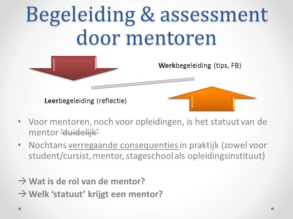 Begeleiding & assessment door mentoren • Voor mentoren, noch voor opleidingen, is het statuut van de mentor 'duidelijk' • Nochtans verregaande consequenties in praktijk (zowel voor student/cursist, mentor, stageschool als opleidingsinstituut)  Wat is de rol van de mentor.