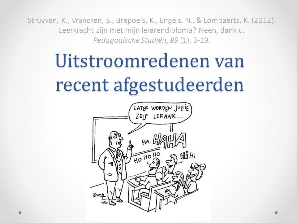 Uitstroomredenen van recent afgestudeerden Struyven, K., Vrancken, S., Brepoels, K., Engels, N., & Lombaerts, K. (2012). Leerkracht zijn met mijn lera