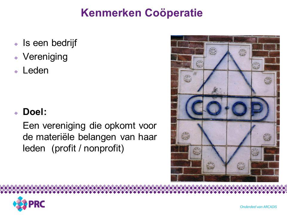 Kenmerken Coöperatie Is een bedrijf Vereniging Leden Doel: Een vereniging die opkomt voor de materiële belangen van haar leden (profit / nonprofit)
