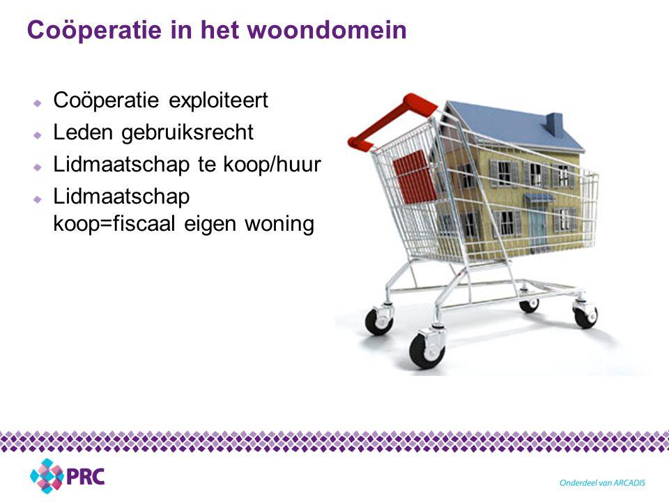 Coöperatie in het woondomein Coöperatie exploiteert Leden gebruiksrecht Lidmaatschap te koop/huur Lidmaatschap koop=fiscaal eigen woning