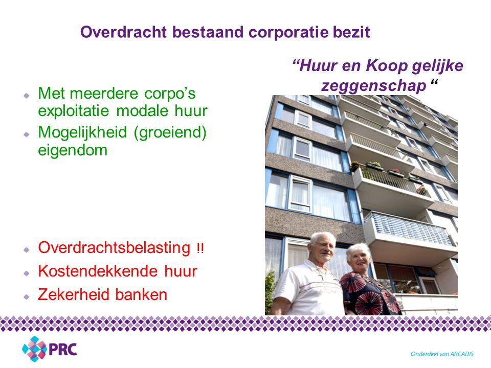 Overdracht bestaand corporatie bezit Met meerdere corpo's exploitatie modale huur Mogelijkheid (groeiend) eigendom Huur en Koop gelijke zeggenschap Overdrachtsbelasting !.