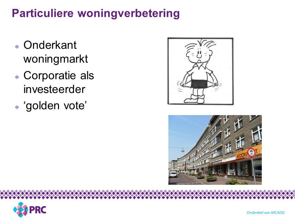 Particuliere woningverbetering Onderkant woningmarkt Corporatie als investeerder 'golden vote'