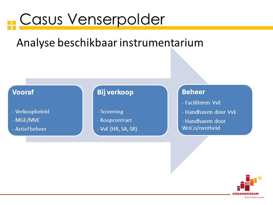 Analyse beschikbaar instrumentarium Casus Venserpolder