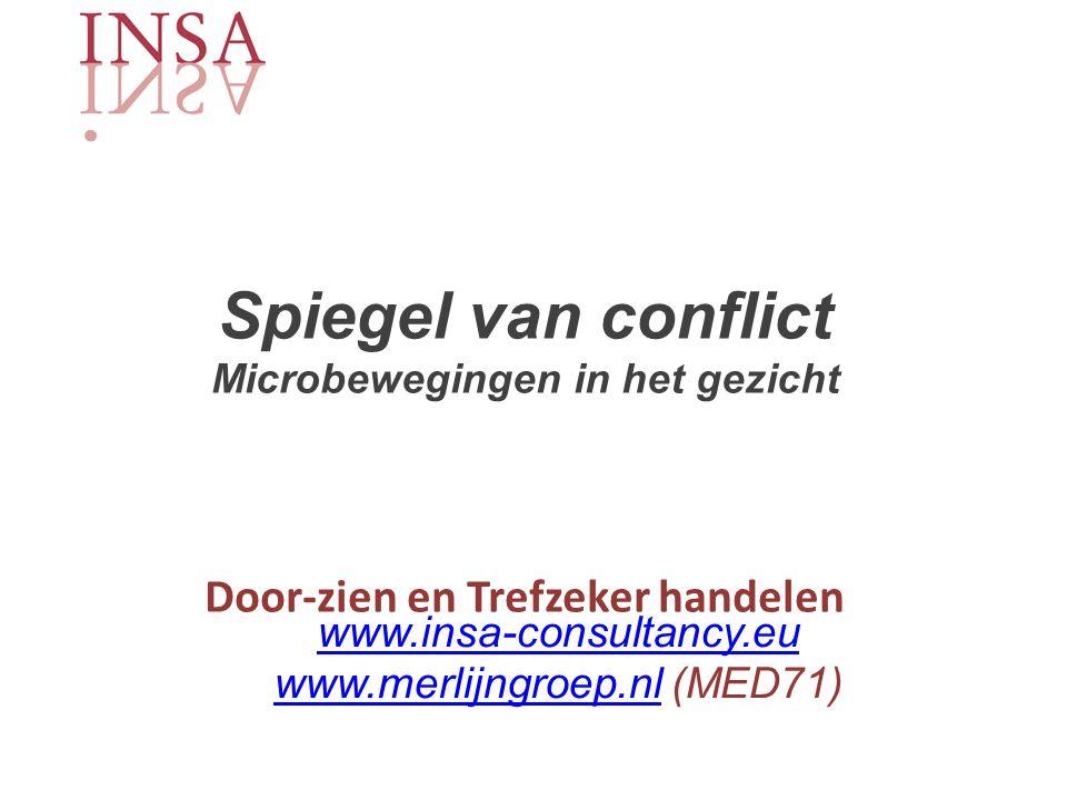 Spiegel van conflict Microbewegingen in het gezicht Door-zien en Trefzeker handelen www.insa-consultancy.eu www.merlijngroep.nlwww.merlijngroep.nl (MED71)
