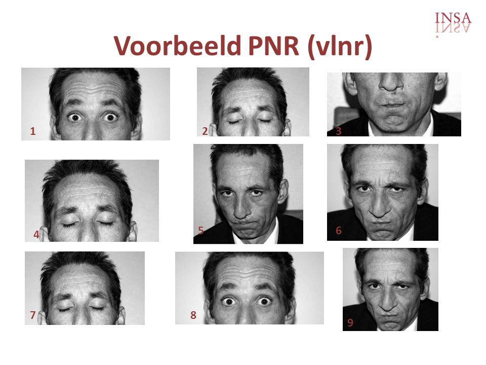 Voorbeeld PNR (vlnr) 123 4 56 78 9