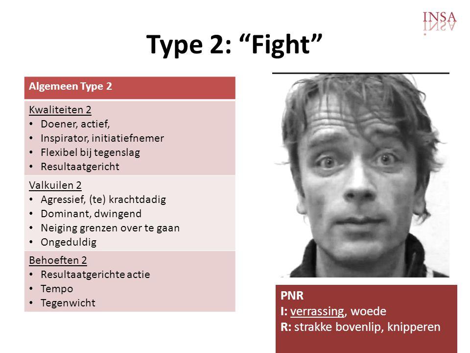 Type 2: Fight Algemeen Type 2 Kwaliteiten 2 • Doener, actief, • Inspirator, initiatiefnemer • Flexibel bij tegenslag • Resultaatgericht Valkuilen 2 • Agressief, (te) krachtdadig • Dominant, dwingend • Neiging grenzen over te gaan • Ongeduldig Behoeften 2 • Resultaatgerichte actie • Tempo • Tegenwicht PNR I: verrassing, woede R: strakke bovenlip, knipperen