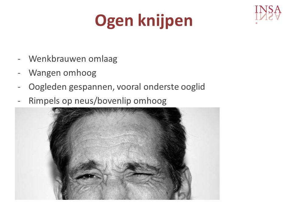 Ogen knijpen -Wenkbrauwen omlaag -Wangen omhoog -Oogleden gespannen, vooral onderste ooglid -Rimpels op neus/bovenlip omhoog