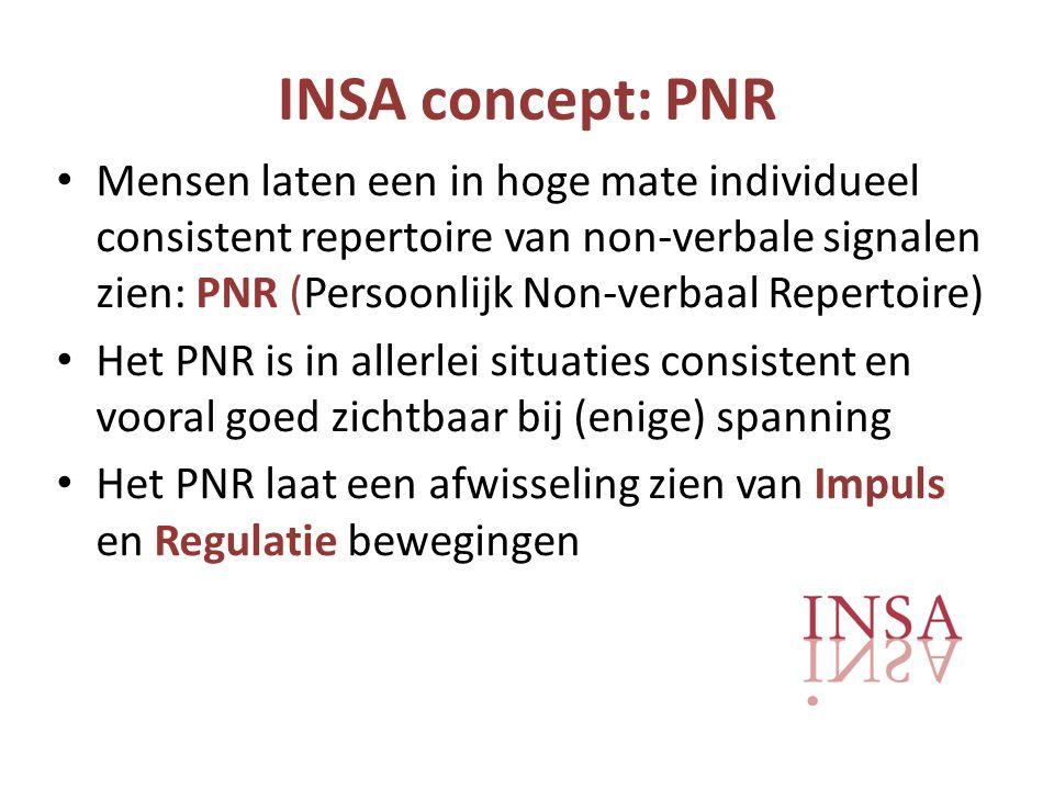 INSA concept: PNR • Mensen laten een in hoge mate individueel consistent repertoire van non-verbale signalen zien: PNR (Persoonlijk Non-verbaal Repertoire) • Het PNR is in allerlei situaties consistent en vooral goed zichtbaar bij (enige) spanning • Het PNR laat een afwisseling zien van Impuls en Regulatie bewegingen