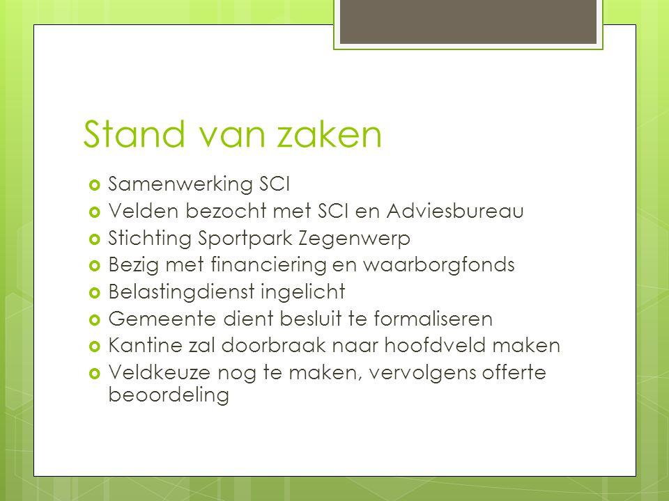 Stand van zaken  Samenwerking SCI  Velden bezocht met SCI en Adviesbureau  Stichting Sportpark Zegenwerp  Bezig met financiering en waarborgfonds