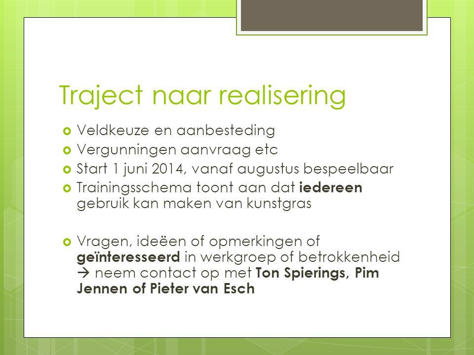 Traject naar realisering  Veldkeuze en aanbesteding  Vergunningen aanvraag etc  Start 1 juni 2014, vanaf augustus bespeelbaar  Trainingsschema too