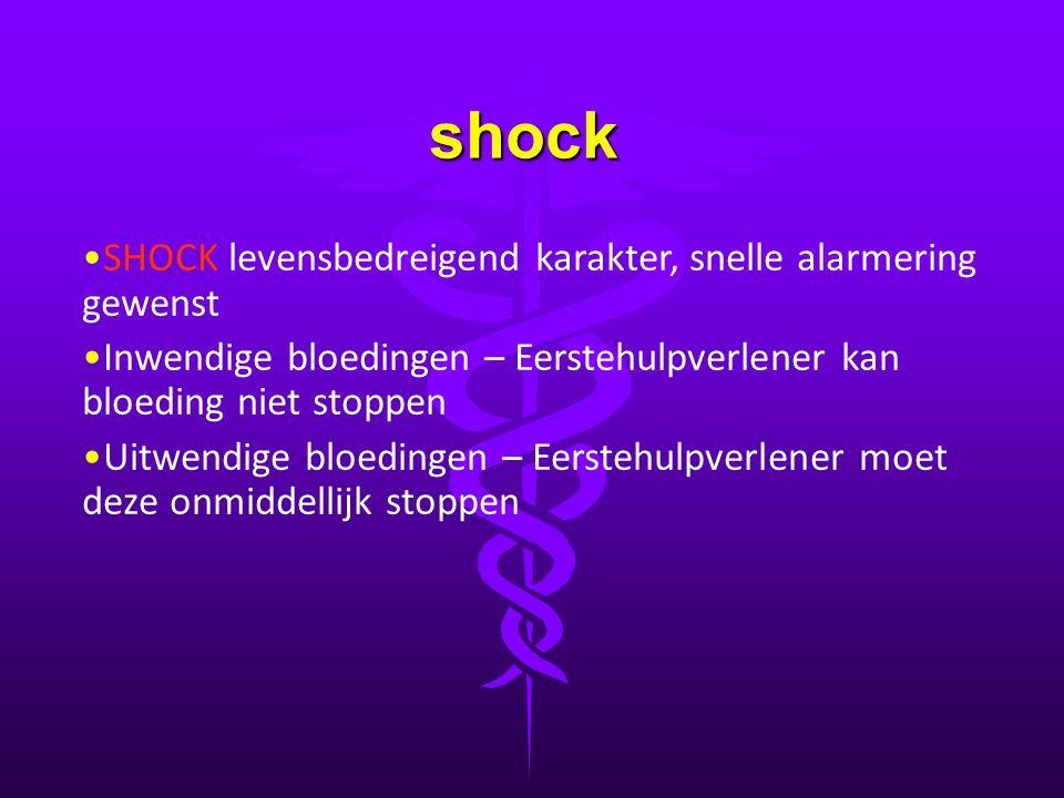 shock • •SHOCK levensbedreigend karakter, snelle alarmering gewenst • •Inwendige bloedingen – Eerstehulpverlener kan bloeding niet stoppen • •Uitwendi
