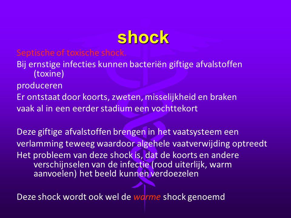 shock Septische of toxische shock. Bij ernstige infecties kunnen bacteriën giftige afvalstoffen (toxine) produceren Er ontstaat door koorts, zweten, m
