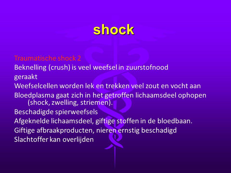 shock Traumatische shock 2 Beknelling (crush) is veel weefsel in zuurstofnood geraakt Weefselcellen worden lek en trekken veel zout en vocht aan Bloed