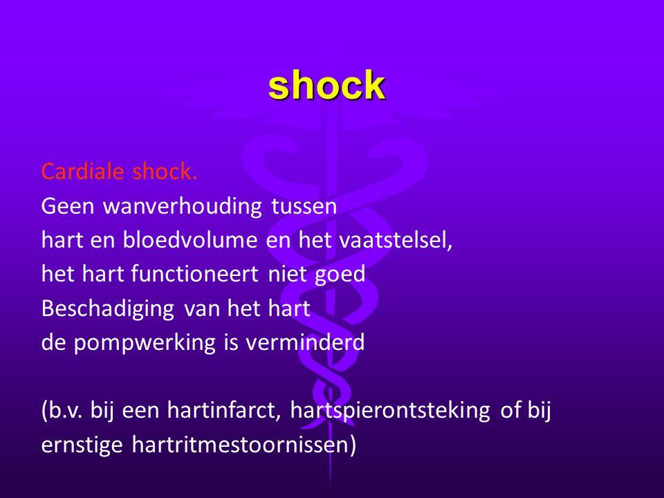 shock Cardiale shock. Geen wanverhouding tussen hart en bloedvolume en het vaatstelsel, het hart functioneert niet goed Beschadiging van het hart de p