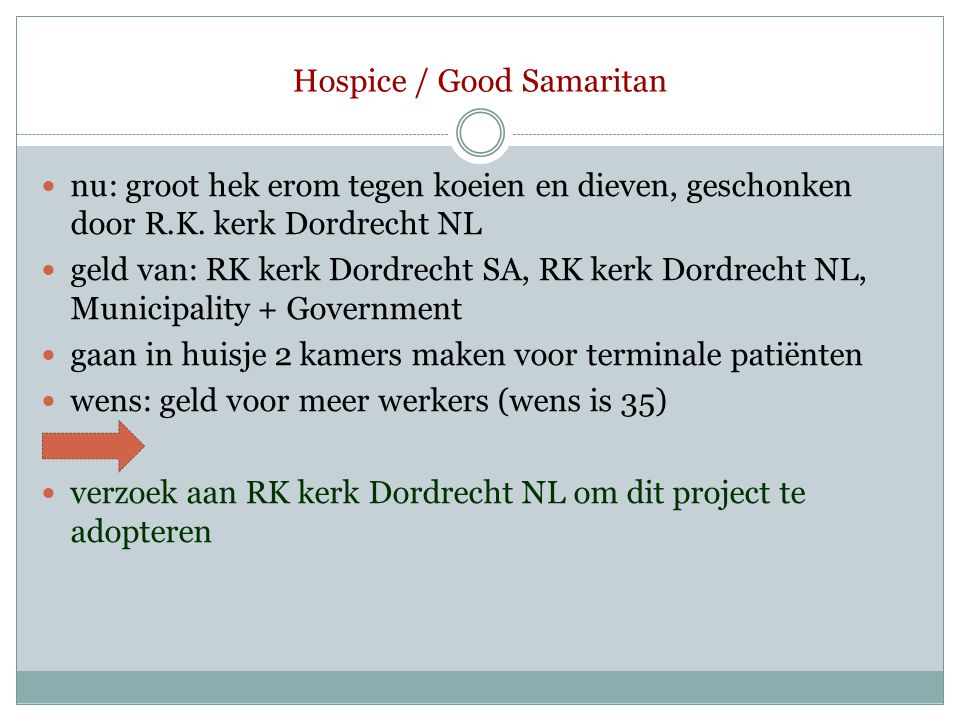 Hospice / Good Samaritan  nu: groot hek erom tegen koeien en dieven, geschonken door R.K. kerk Dordrecht NL  geld van: RK kerk Dordrecht SA, RK kerk