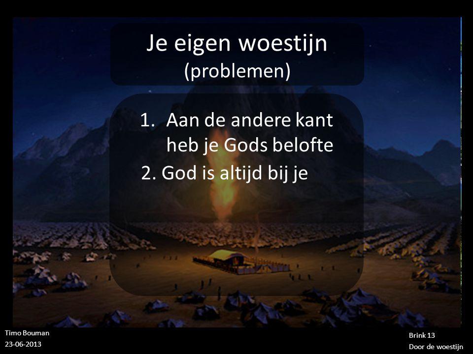 Timo Bouman 23-06-2013 Brink 13 Door de woestijn Je eigen woestijn (problemen) 1.Aan de andere kant heb je Gods belofte 2. God is altijd bij je