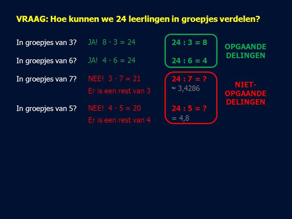 VRAAG: Hoe kunnen we 24 leerlingen in groepjes verdelen? In groepjes van 3?JA! 8  3 = 24 In groepjes van 6?JA! 4  6 = 24 In groepjes van 7?NEE! 3 