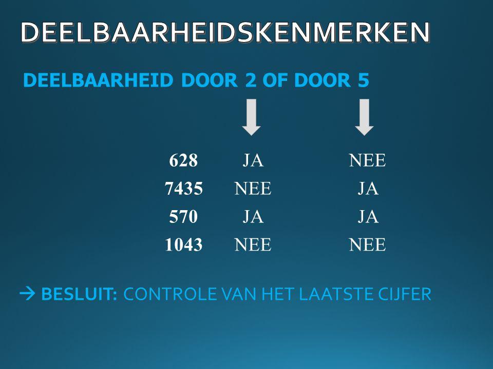 DEELBAARHEID DOOR 2 OF DOOR 5 628JANEE 7435 570 1043 NEEJA NEE  BESLUIT: CONTROLE VAN HET LAATSTE CIJFER