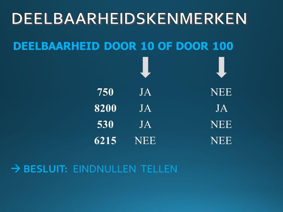 DEELBAARHEID DOOR 10 OF DOOR 100 750JANEE 8200 530 6215 JA NEE  BESLUIT: EINDNULLEN TELLEN