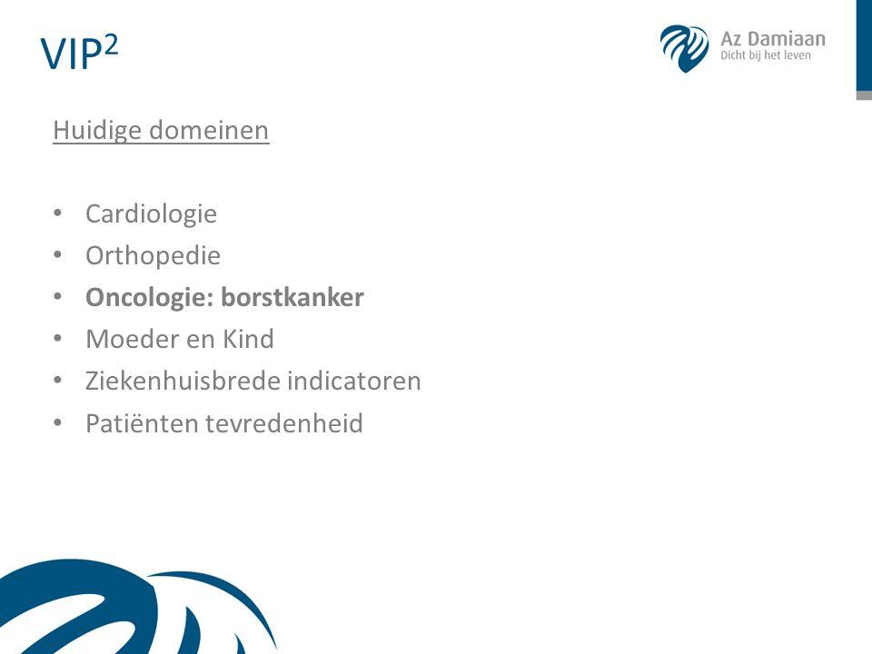 VIP 2 Huidige domeinen • Cardiologie • Orthopedie • Oncologie: borstkanker • Moeder en Kind • Ziekenhuisbrede indicatoren • Patiënten tevredenheid