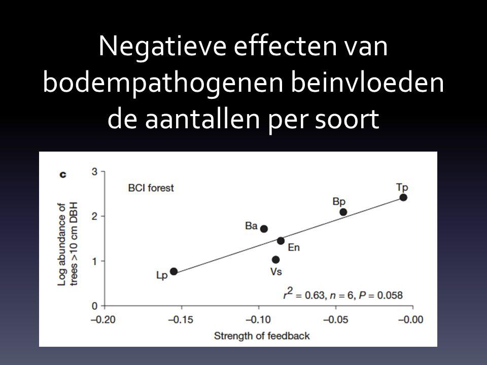Negatieve effecten van bodempathogenen beinvloeden de aantallen per soort