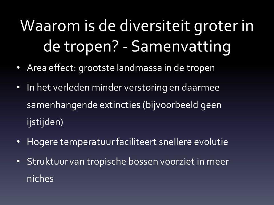 Waarom is de diversiteit groter in de tropen.